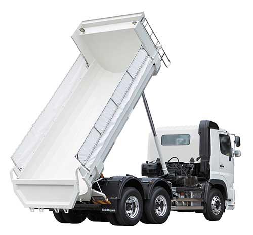 新明和工業 テレスコ式リヤダンプ、軽量化で積載量拡大