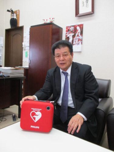 林運送 AED設置7年、いつも受付に