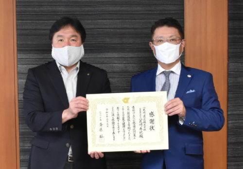 八武崎運送 江戸川区に医療用防護服を寄贈