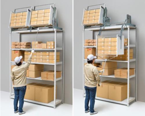 オークス 物流業界向けに開発、棚上スペースを利用