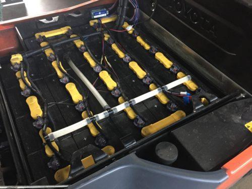 イーコースの『電源ドナー』構想 災害時に電動フォークのバッテリーを非常用電源に