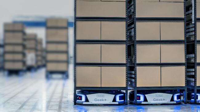 ギークプラスの自動搬送ロボット 三菱倉庫のEC向け物流センターが採用